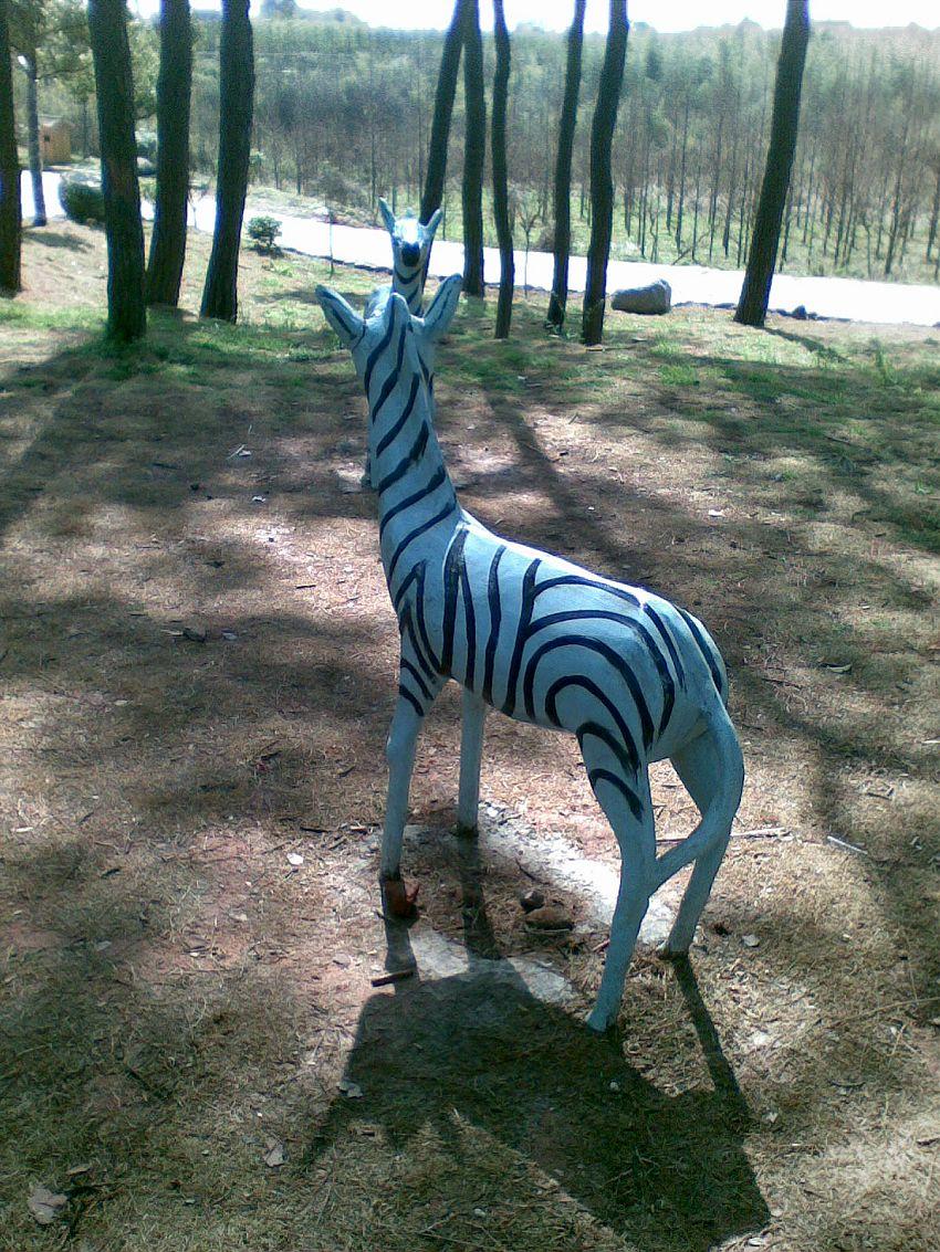 森林公园里放几个梅花鹿跟斑马的塑像本来环境